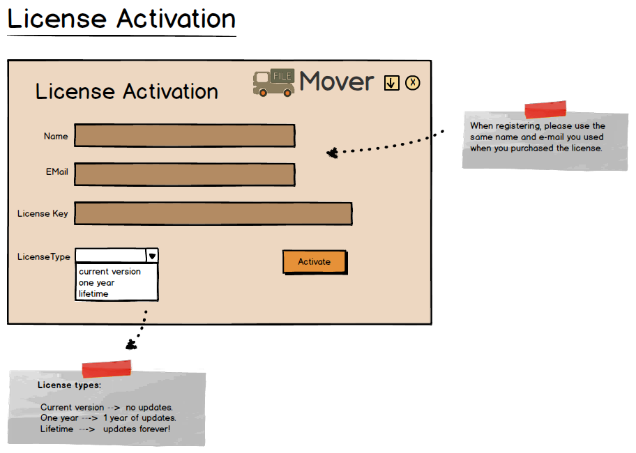 FileMover License Activation Window